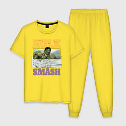 Пижама хлопковая мужская Hulk Smash цвета желтый — фото 1