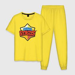Пижама хлопковая мужская Бравл Старс цвета желтый — фото 1
