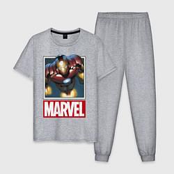 Пижама хлопковая мужская Iron Man: Mark III цвета меланж — фото 1