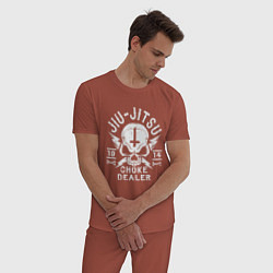 Пижама хлопковая мужская Jiu Jitsu цвета кирпичный — фото 2