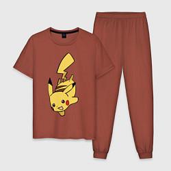Пижама хлопковая мужская Радостный Пикачуха цвета кирпичный — фото 1