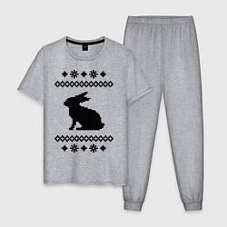 Пижама хлопковая мужская Узор с зайцем цвета меланж — фото 1