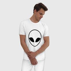 Пижама хлопковая мужская Гуманоид цвета белый — фото 2