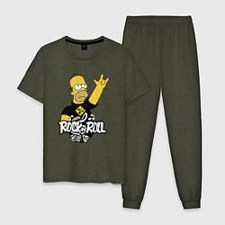 Пижама хлопковая мужская Rock n Roll цвета меланж-хаки — фото 1