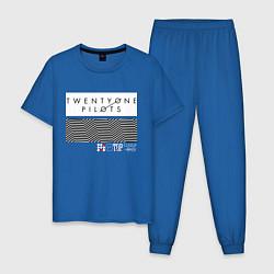 Пижама хлопковая мужская TOP: Lane Boy цвета синий — фото 1