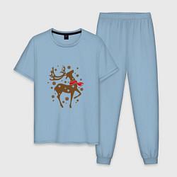 Пижама хлопковая мужская Олень с шарфом цвета мягкое небо — фото 1