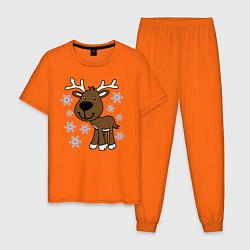 Пижама хлопковая мужская Олень в снегу цвета оранжевый — фото 1