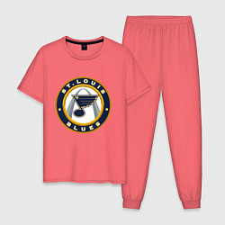 Пижама хлопковая мужская St Louis Blues цвета коралловый — фото 1