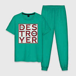 Пижама хлопковая мужская Drax цвета зеленый — фото 1