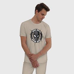 Пижама хлопковая мужская Web Head цвета миндальный — фото 2