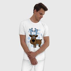 Пижама хлопковая мужская Олень и снежинки цвета белый — фото 2