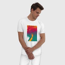 Пижама хлопковая мужская JONY Список твоих мыслей цвета белый — фото 2