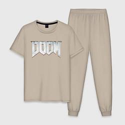 Пижама хлопковая мужская DOOM цвета миндальный — фото 1