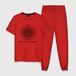 Пижама хлопковая мужская BRING ME THE HORIZON цвета красный — фото 1