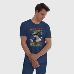 Пижама хлопковая мужская Регги цвета тёмно-синий — фото 2
