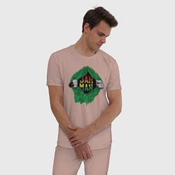 Пижама хлопковая мужская Регги цвета пыльно-розовый — фото 2