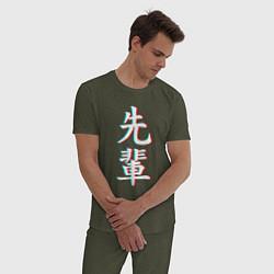 Пижама хлопковая мужская SENPAI GLITCH цвета меланж-хаки — фото 2