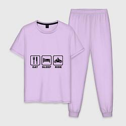 Пижама хлопковая мужская Eat Sleep Ride цвета лаванда — фото 1