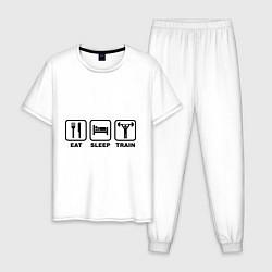 Пижама хлопковая мужская Eat Sleep Train цвета белый — фото 1