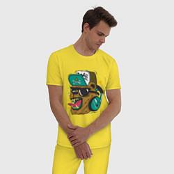 Пижама хлопковая мужская Boom, Boom Bear цвета желтый — фото 2