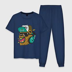 Пижама хлопковая мужская Boom, Boom Bear цвета тёмно-синий — фото 1