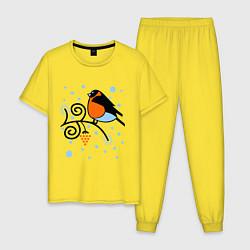 Пижама хлопковая мужская Снегирь на ветке рябины цвета желтый — фото 1