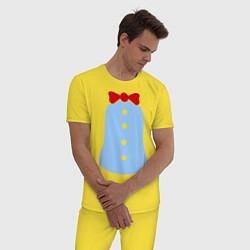 Пижама хлопковая мужская Костюм Пингвина цвета желтый — фото 2