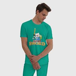 Пижама хлопковая мужская Eat my sword цвета зеленый — фото 2