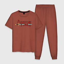 Пижама хлопковая мужская Adventure time цвета кирпичный — фото 1