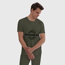 Пижама хлопковая мужская Made in Petersburg цвета меланж-хаки — фото 2