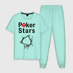 Пижама хлопковая мужская Poker Stars цвета мятный — фото 1