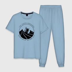 Пижама хлопковая мужская Gotham city цвета мягкое небо — фото 1