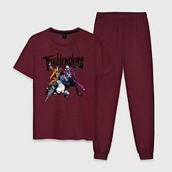 Пижама хлопковая мужская Troublemakers - Джокер и Харви с Пингвином цвета меланж-бордовый — фото 1