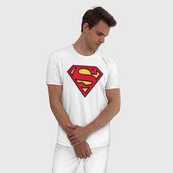 Пижама хлопковая мужская Superman logo цвета белый — фото 2