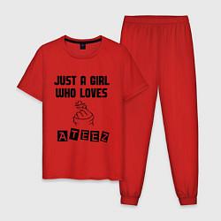 Пижама хлопковая мужская ATEEZ цвета красный — фото 1