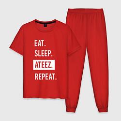 Пижама хлопковая мужская ЕСТЬ СПАТЬ ATEEZ ПОВТОРИТЬ цвета красный — фото 1