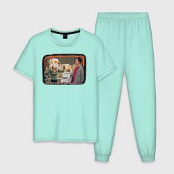 Пижама хлопковая мужская Thanksgiving Day цвета мятный — фото 1