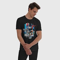 Пижама хлопковая мужская Лига Справедливости цвета черный — фото 2
