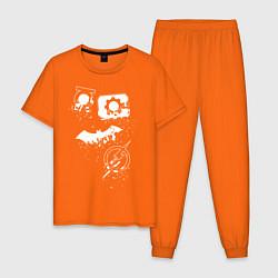 Пижама хлопковая мужская Логотипы Justice League цвета оранжевый — фото 1