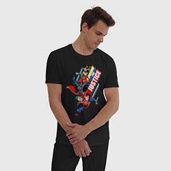 Пижама хлопковая мужская United for Justice цвета черный — фото 2