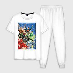 Пижама хлопковая мужская Лига Справедливости цвета белый — фото 1