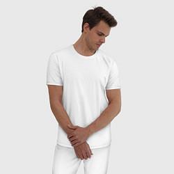 Пижама хлопковая мужская I WANT TO BELIEVE цвета белый — фото 2