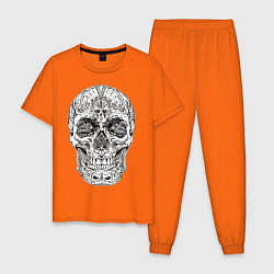 Пижама хлопковая мужская Узор цвета оранжевый — фото 1