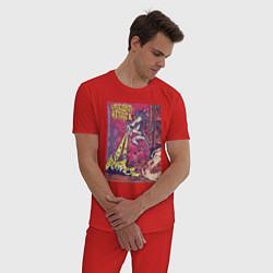 Пижама хлопковая мужская Единорог Атакует цвета красный — фото 2