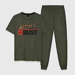 Пижама хлопковая мужская Evolution Rust цвета меланж-хаки — фото 1