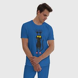 Пижама хлопковая мужская Висящий кот цвета синий — фото 2