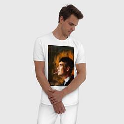 Пижама хлопковая мужская Острые козырьки цвета белый — фото 2