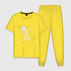 Пижама хлопковая мужская Dabbing Unicorn цвета желтый — фото 1