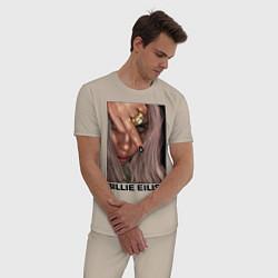 Пижама хлопковая мужская BILLIE EILISH цвета миндальный — фото 2