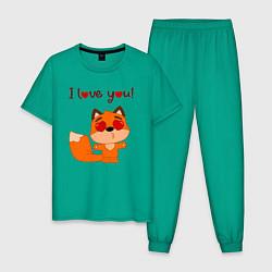 Пижама хлопковая мужская Влюбленная лисичка i love you! цвета зеленый — фото 1